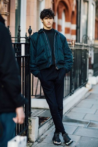 Reach for a teal bomber jacket and black chinos for a trendy and easy going look. Opt for a pair of Creative Recreation Cesario X Hightop Sneaker to make the look current. On not-so-chilly days, wear a variation of this easy-to-transition getup and look absolutely amazing.