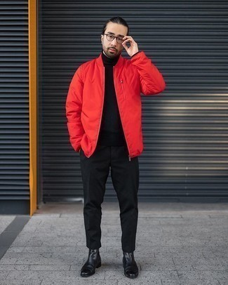 Red Bomber Jacket Outfits For Men: Try teaming a red bomber jacket with black chinos for a laid-back and trendy outfit. To give your overall ensemble a more sophisticated aesthetic, why not complement your outfit with a pair of black leather chelsea boots?