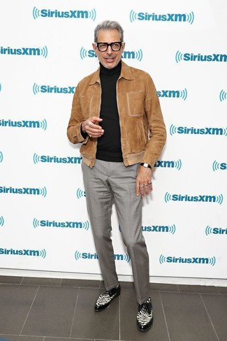 How to wear: brown suede bomber jacket, black turtleneck, grey check dress pants, black and white leather derby shoes