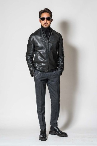 How to Wear Charcoal Wool Dress Pants For Men: A black leather bomber jacket and charcoal wool dress pants are among the crucial items of any gent's wardrobe. We love how complete this outfit looks when complemented by a pair of black leather chelsea boots.