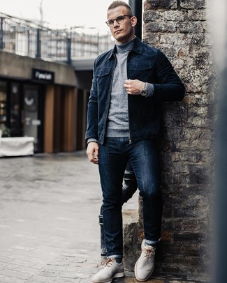 How to wear: navy suede bomber jacket, grey turtleneck, navy jeans, grey leather derby shoes