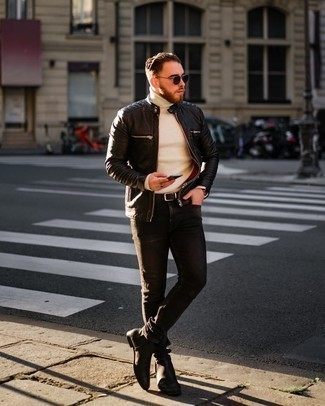 Black Quilted Leather Bomber Jacket Outfits For Men: To don a casual outfit with a clear fashion twist, you can go for a black quilted leather bomber jacket and charcoal jeans. If you wish to immediately kick up your outfit with one piece, why not slip into black leather chelsea boots?