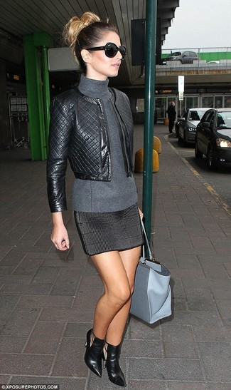 Bomber jacket turtleneck mini skirt ankle boots tote bag large 1319