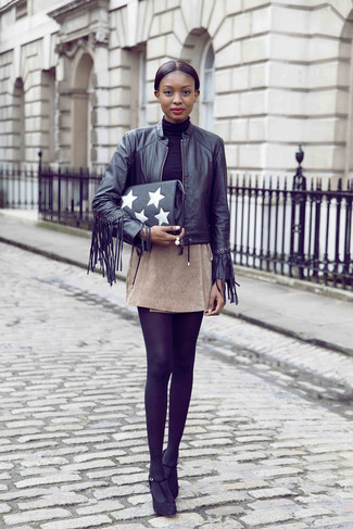 How to wear: black fringe leather bomber jacket, black turtleneck, beige suede mini skirt, black suede pumps