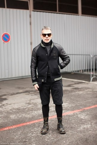 How to wear: black leather bomber jacket, charcoal turtleneck, charcoal shorts, charcoal leather casual boots