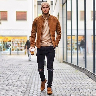 How to Wear Black Ripped Skinny Jeans For Men: To assemble a relaxed casual ensemble with a twist, try teaming a tobacco suede bomber jacket with black ripped skinny jeans. A trendy pair of tobacco suede double monks is the simplest way to give a hint of sophistication to your outfit.