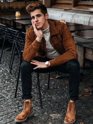 How to Wear a Grey Turtleneck For Men: Such essentials as a grey turtleneck and black skinny jeans are the ideal way to introduce muted dapperness into your casual styling rotation. You could perhaps get a bit experimental when it comes to footwear and introduce tobacco suede chelsea boots to the mix.