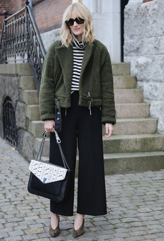 How to wear: olive fleece bomber jacket, white and black horizontal striped turtleneck, black wide leg pants, olive suede pumps