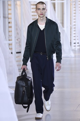 Which Bomber Jacket To Wear With Navy Dress Pants For Men: A bomber jacket and navy dress pants are among the basic elements of a functional wardrobe. For something more on the casually edgy end to complement your getup, introduce white leather low top sneakers to this ensemble.