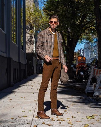 How to wear: brown plaid bomber jacket, olive v-neck sweater, white crew-neck t-shirt, brown corduroy jeans