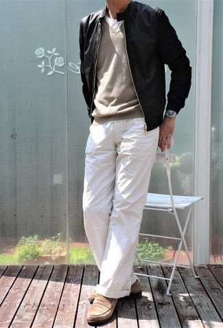 Black Leather Jacket with Shoes Outfits For Men After 50: For something on the casual and cool side, go for a black leather jacket and white chinos. Dial up the fashion factor of this look by rocking a pair of tan suede loafers. Like this outfit idea for a 50-year-old gent?