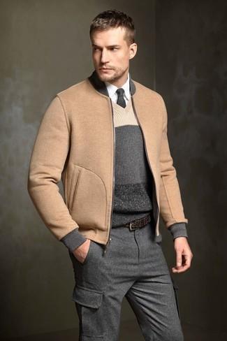 Men's Tan Wool Bomber Jacket, Charcoal Horizontal Striped V-neck Sweater, White Dress Shirt, Charcoal Wool Cargo Pants