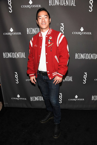How to Wear a Red Bomber Jacket For Men: Opt for a red bomber jacket and navy jeans for a straightforward menswear style that's also put together nicely. For maximum style effect, introduce a pair of black leather casual boots to your ensemble.