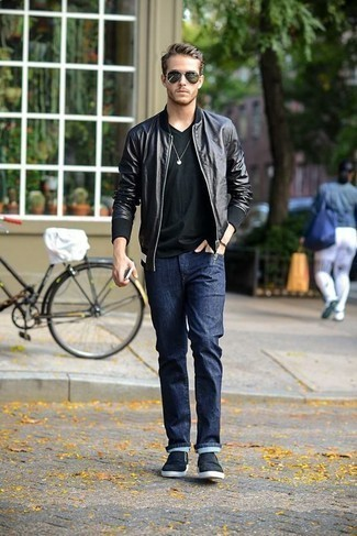 Dark Brown Bracelet Outfits For Men: Extra dapper, this combo of a black leather bomber jacket and a dark brown bracelet provides with variety. Up your whole ensemble by rocking black canvas slip-on sneakers.