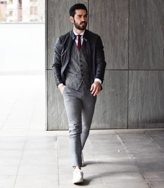 White Dress Shirt with Bomber Jacket Outfits For Men: Consider pairing a bomber jacket with a white dress shirt if you're going for a proper, on-trend outfit. And if you want to effortlessly play down your ensemble with footwear, why not add white canvas low top sneakers to the equation?