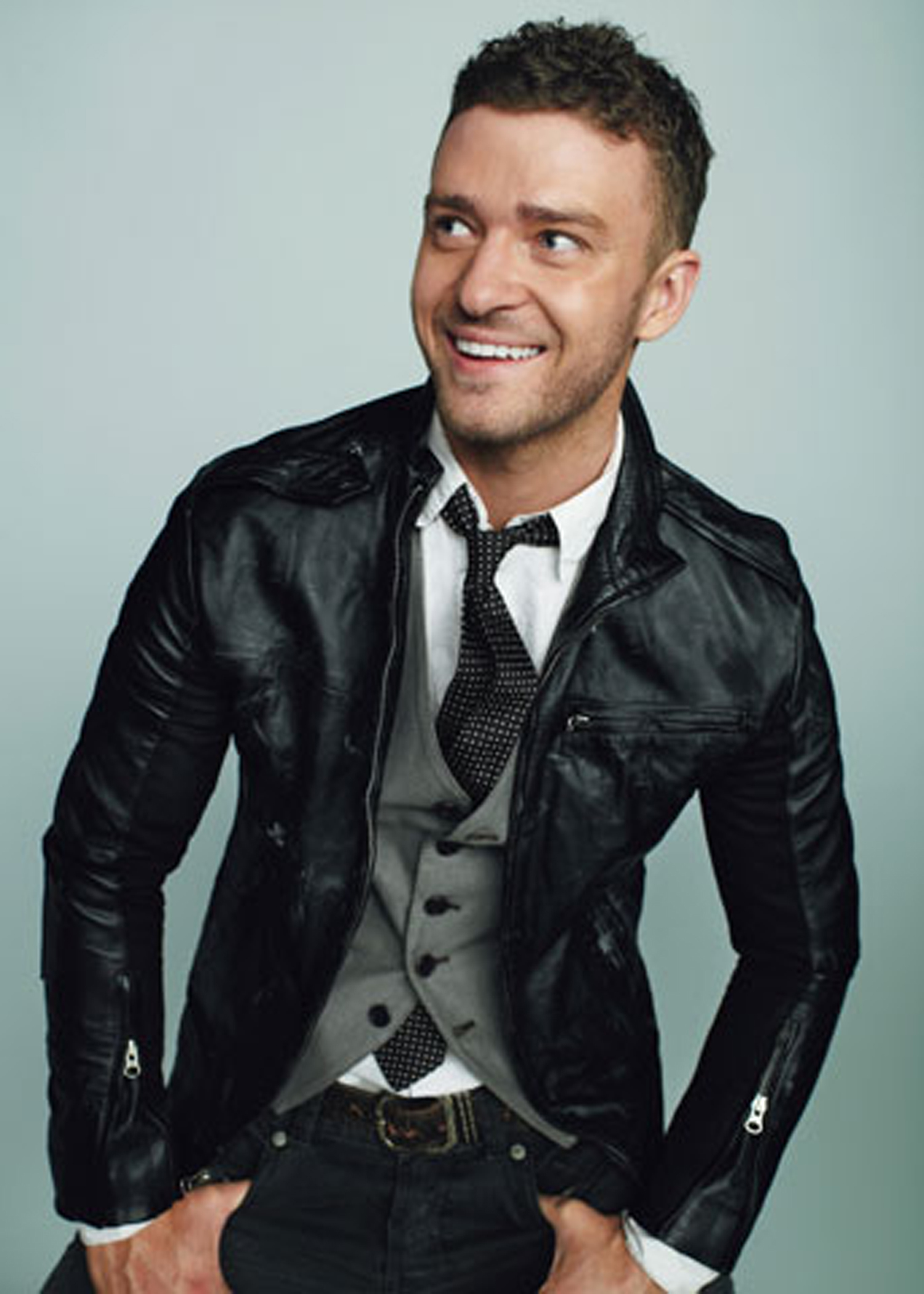 Justin Timberlake wearing Black Leather Bomber Jacket, Grey ...