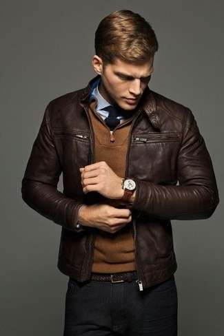 A dark brown leather bomber jacket and black chinos? It's an easy-to-wear ensemble that any man could rock on a daily basis.