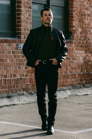 Black Leather Jacket with Black Jeans Warm Weather Outfits For Men: For an off-duty look, opt for a black leather jacket and black jeans — these pieces play really cool together. Why not complete this ensemble with black leather chelsea boots for an extra touch of style?