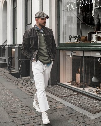 How to Wear a Grey Flat Cap For Men: Go for a simple but casually cool choice by pairing a charcoal suede bomber jacket and a grey flat cap. If you need to immediately elevate this look with footwear, why not complete this getup with a pair of white canvas high top sneakers?