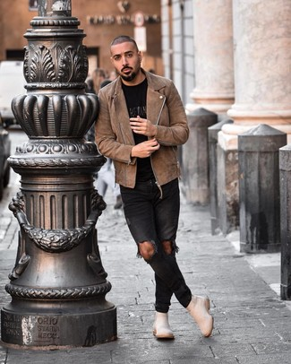 How to Wear Beige Suede Chelsea Boots For Men: For a laid-back getup without the need to sacrifice on comfort, we love this pairing of a brown suede biker jacket and black ripped skinny jeans. Beige suede chelsea boots bring a classy aesthetic to the outfit.
