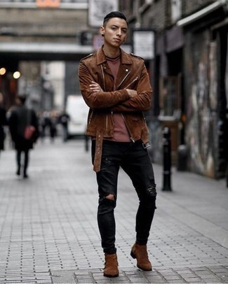 How to Wear Brown Suede Chelsea Boots For Men: Go for a simple yet neat and relaxed option by pairing a brown suede biker jacket and black ripped jeans. If you want to break out of the mold a little, complete your getup with a pair of brown suede chelsea boots.