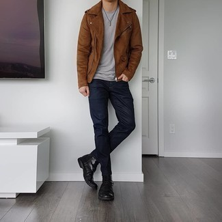 Brown Suede Biker Jacket Outfits For Men: You'll be amazed at how super easy it is for any gent to get dressed like this. Just a brown suede biker jacket and navy jeans. Feeling venturesome? Shake up this getup by sporting a pair of black leather casual boots.