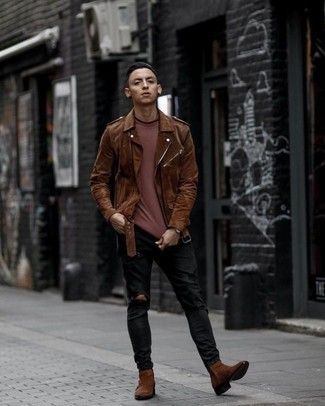 How to Wear Brown Suede Chelsea Boots For Men: If you're a fan of edgy combos, why not take this pairing of a brown suede biker jacket and black ripped jeans for a spin? For a smarter twist, complete your getup with a pair of brown suede chelsea boots.