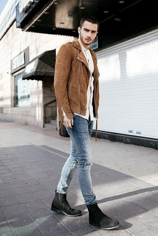 How to Wear Light Blue Ripped Jeans For Men: You'll be amazed at how easy it is for any guy to put together an urban ensemble like this. Just a brown suede biker jacket teamed with light blue ripped jeans. If you need to immediately spruce up this getup with footwear, why not add a pair of black suede chelsea boots to the equation?