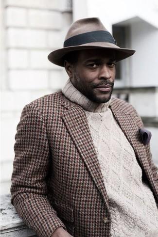 Men's Brown Houndstooth Blazer, Beige Knit Turtleneck, Brown Hat, Purple Pocket Square