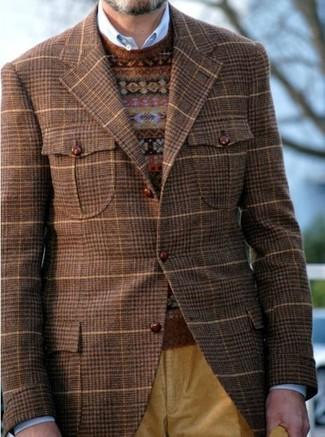 How to wear: brown plaid blazer, brown fair isle crew-neck sweater, blue long sleeve shirt, mustard corduroy jeans