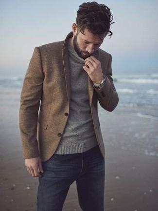 How to wear: brown wool blazer, grey turtleneck, black jeans, silver watch