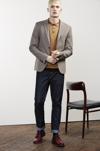 How to wear: brown check blazer, mustard polo, navy jeans, burgundy leather derby shoes