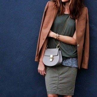 Master the effortlessly chic look in a teal crew-neck t-shirt and an olive pencil skirt.