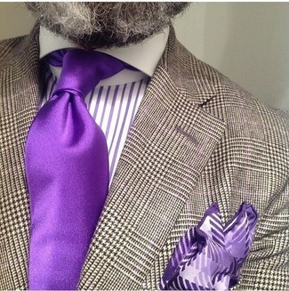 How to Wear a Violet Silk Tie For Men: This elegant combination of a brown houndstooth blazer and a violet silk tie will hallmark your sartorial prowess.
