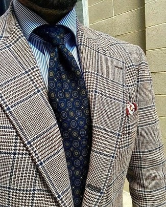 How to wear: brown houndstooth wool blazer, white and blue vertical striped dress shirt, navy print tie, burgundy print pocket square