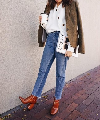How to wear: brown wool blazer, white button down blouse, blue jeans, tobacco leather ankle boots