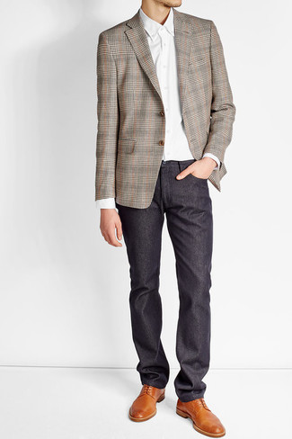 How to wear: brown plaid blazer, white dress shirt, navy chinos, tobacco leather derby shoes