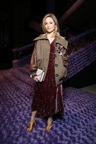 How to wear: brown houndstooth bomber jacket, burgundy velvet midi dress, gold embellished satin mules, white leather clutch
