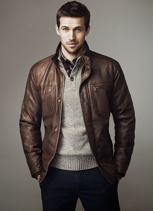 Brown Leather Jacket Men Fashion