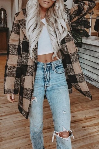 How to wear: brown check coat, white cropped top, light blue ripped jeans