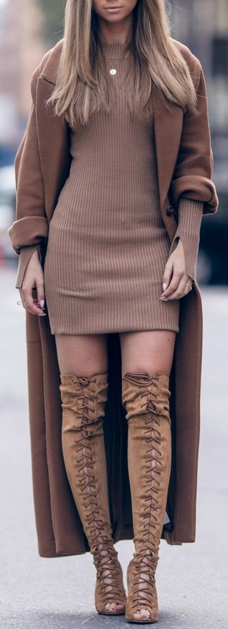 How to Wear Tan Suede Over The Knee Boots: A brown coat and a brown sweater dress are a combo that every stylish girl should have in her off-duty fashion mix. If in doubt as to what to wear on the footwear front, stick to a pair of tan suede over the knee boots.