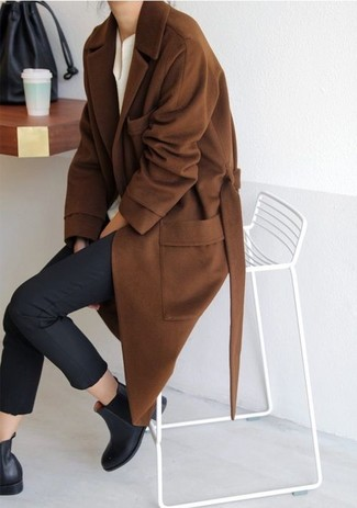 How to wear: brown coat, white henley shirt, black skinny pants, black leather chelsea boots