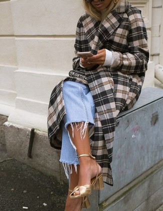 How to wear: brown plaid coat, white turtleneck, light blue boyfriend jeans, gold leather heeled sandals