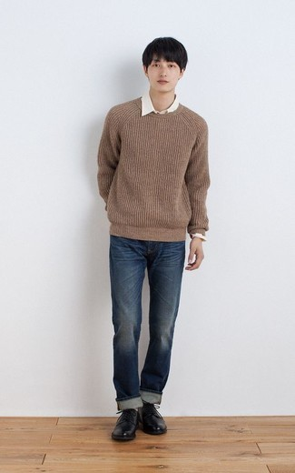 Brown Crew-neck Sweater Outfits For Men: A brown crew-neck sweater and navy jeans are the ideal way to introduce subtle dapperness into your day-to-day wardrobe. Feeling transgressive today? Shake things up by slipping into a pair of black leather derby shoes.