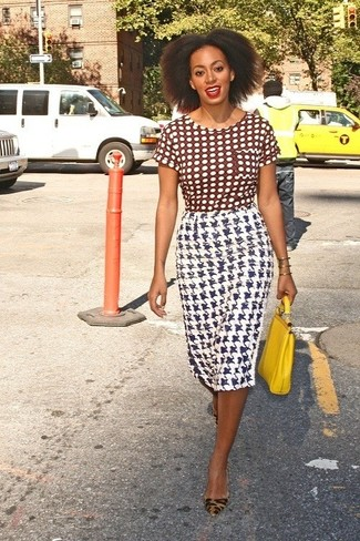 Women's Brown Polka Dot Crew-neck T-shirt, White Houndstooth Pencil Skirt, Tan Leopard Suede Pumps, Yellow Leather Clutch