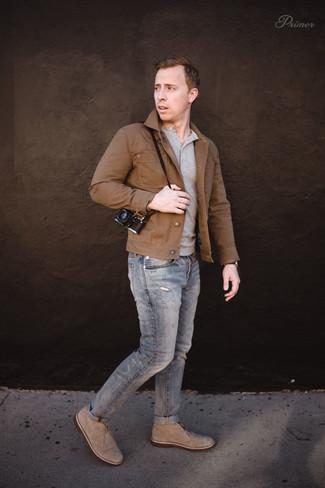 Men S Brown Denim Jacket Grey Henley Sweater Jeans Beige Suede Desert Boots Fashion Lookastic