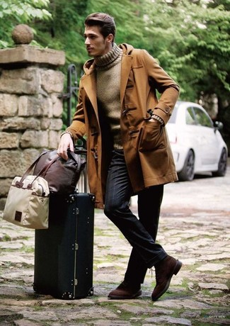 How to wear: brown duffle coat, brown turtleneck, navy vertical striped dress pants, dark brown suede derby shoes