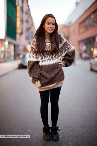 How to wear: brown fair isle oversized sweater, black leggings, black leather lace-up flat boots