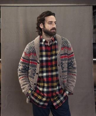 How to Wear a Brown Fair Isle Shawl Cardigan (2 looks) | Men's Fashion
