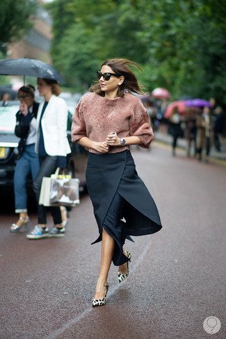 How to wear: brown fluffy crew-neck sweater, black midi skirt, tan leopard suede pumps